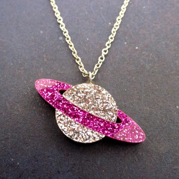 purple silver glitter pendant planet necklace