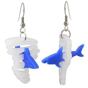 hilarious funny blue shark tornado sharknado dangle earrings jewlery