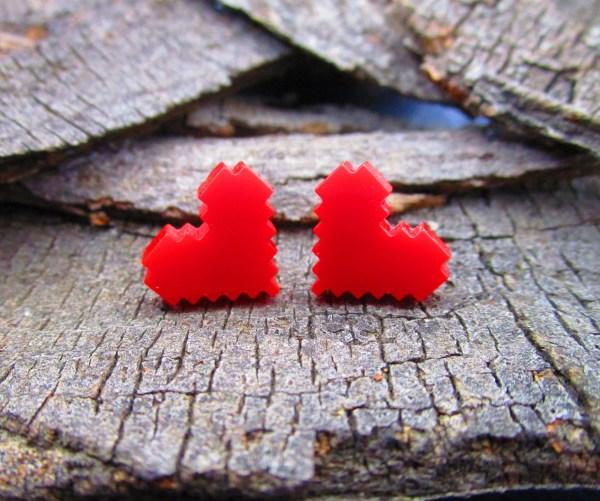 8 bit pixel heart cosplay earrings fr legend of zelda