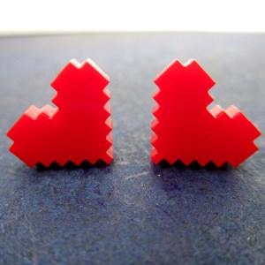 heart container pixel 8 bit art jewelry