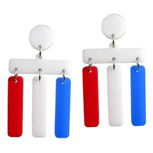 red white and blue bar fourth of july patriotic dangle stud earrings