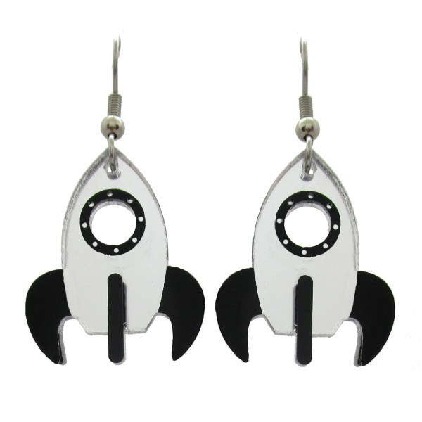 rocket ship dangle earrings on white background to show detail