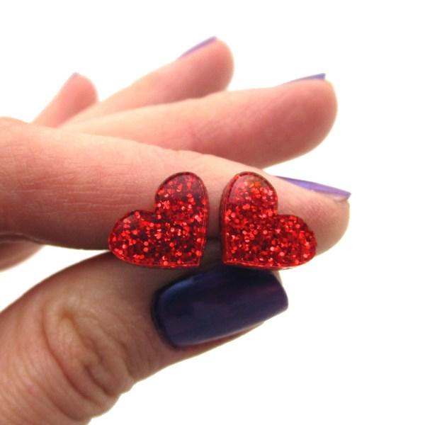 Red Glitter Valentines Day Small Heart Stud Earrings Minimalist Heart Studs