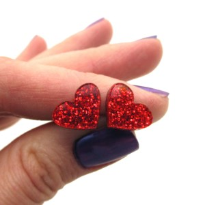 Red Glitter Valentines Day Small Heart Stud Earrings Minimalist Heart Studs