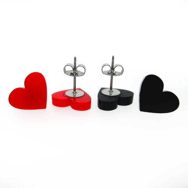 red and black heart earrings with butterfly clasp post showing for detail