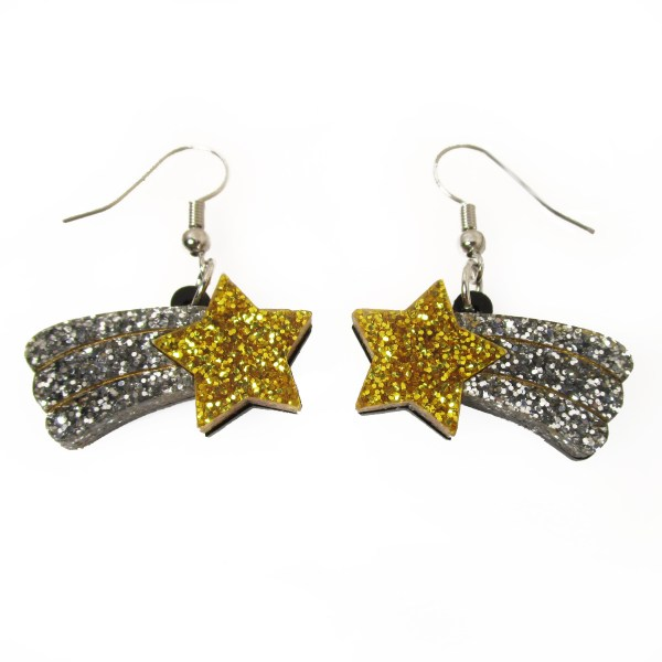 shooting falling star dangle statement earrings