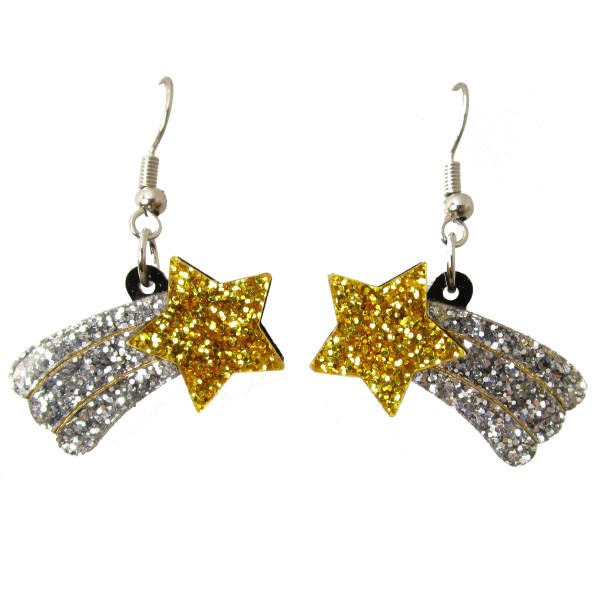 white background shooting falling star statement earrings