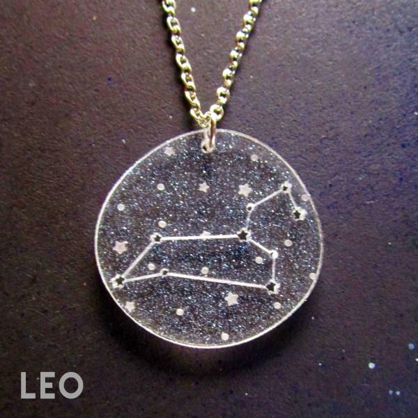 leo zodiac sign constellation star pendant necklace