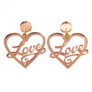 heart earrings with the word love in the middle laser cut shape earrings of rose gold color
