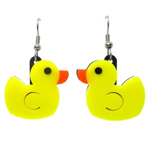rubber duck dangle earrings on white background