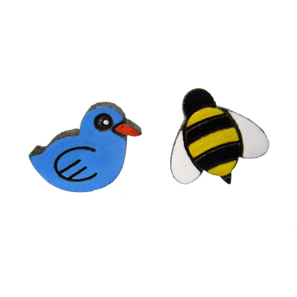 blue bird and yellow bee stud earrings set on white background