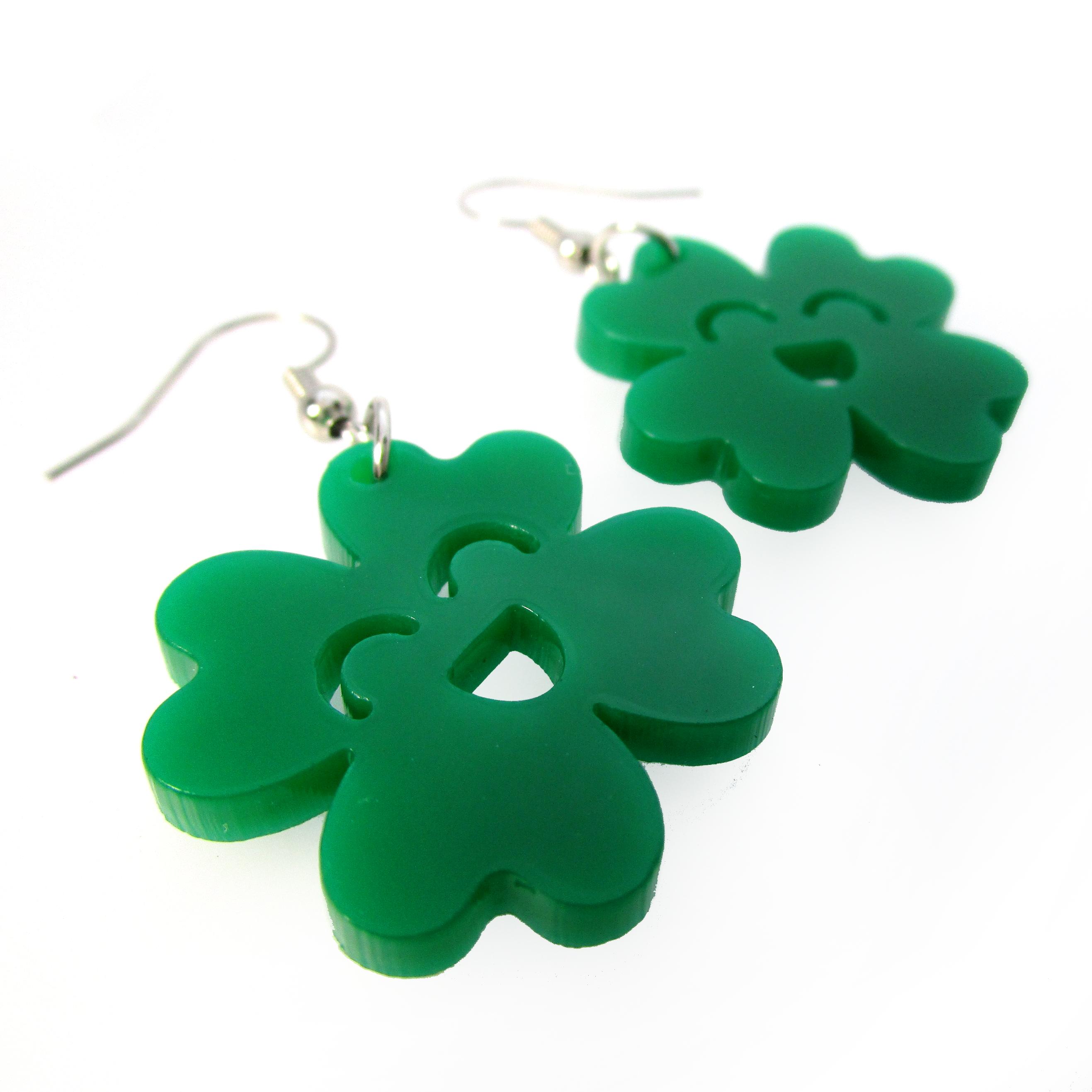 Handmade Earrings St Shamrock Wooden Earrings 4 Leaf Clover Earrings Patricks Day Tear Drop Earrings