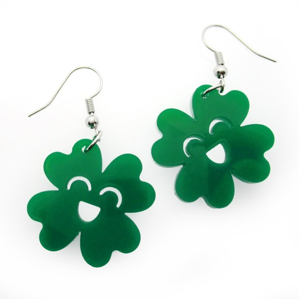 happy kawaii clover dangle earrings