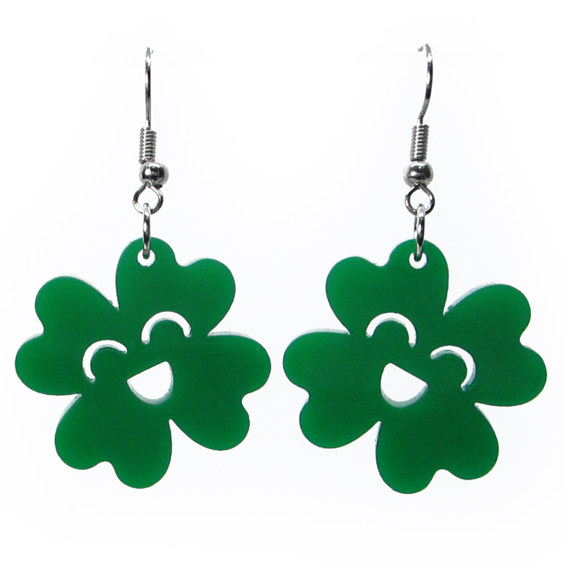 St Patrick S Day Green 4 Leaf Clover Kawaii Shamrock Dangle Earrings