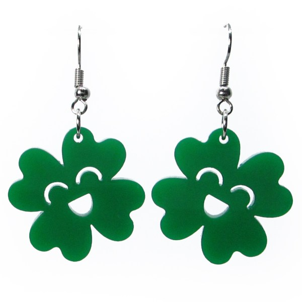 happy kawaii green 4 leaf clover earrings