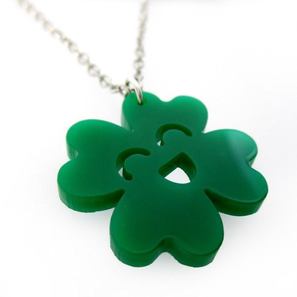 close up view of kawaii clover necklace