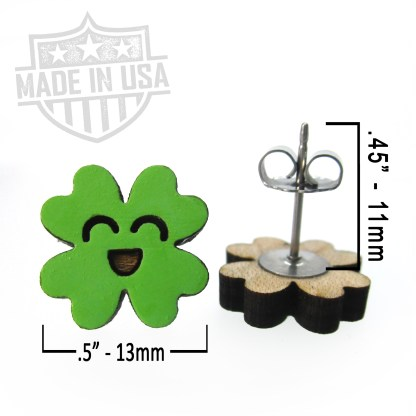 stud earring with measurement happy kawaii clover earrings