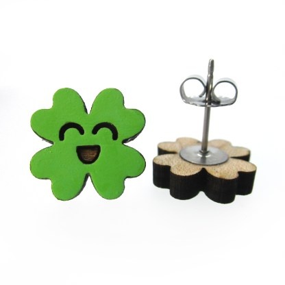 clover stud earrings one facing front one on side to show post and clasp