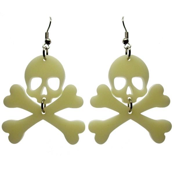 skull and crossbones jolly roger bone dangle earrings on white background