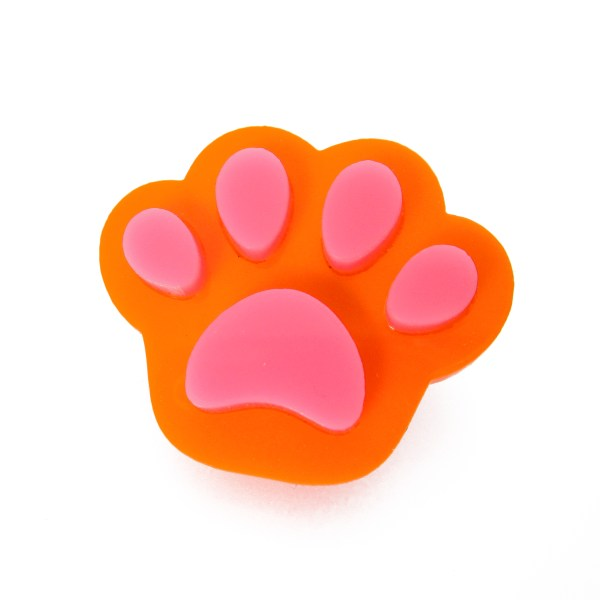 orange paw with pink pads brooch