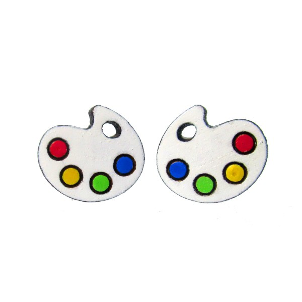 cute little paint pallet palet palette stud earrings on white background