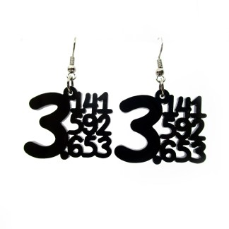 mathematical pi equation earrings with numbers 3.141592653 in black