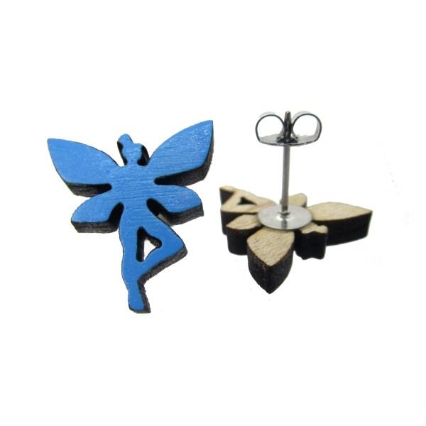 blue fairy pixie stud earrings