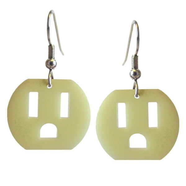 electric outlet unique weird statement dangle earrings