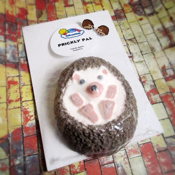 hedgehog hoggie cute little wood stud earrings with bath bomb gift set