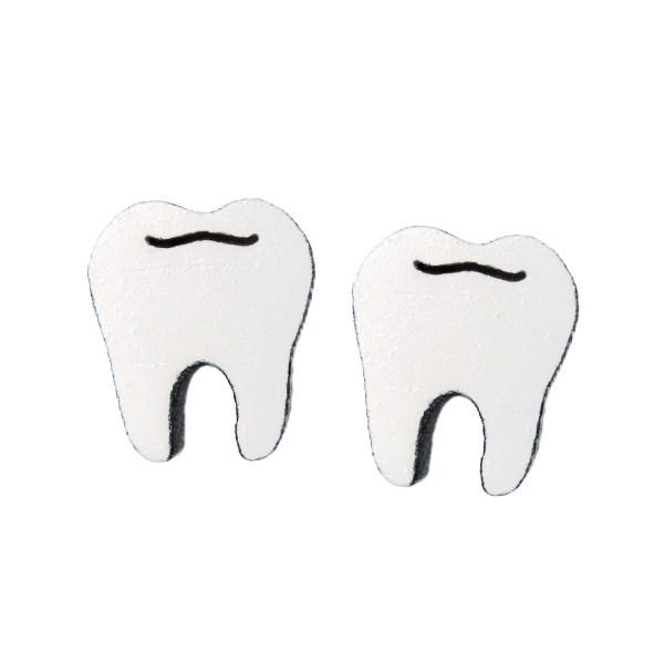 molar teeth shaped stud earrings