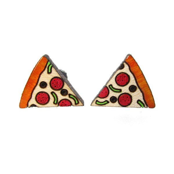 2 mirrored tiny detailed pizza stud earrings