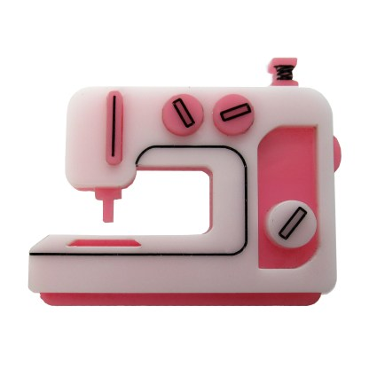 pink sewing machine embroidery sewist pin brooch