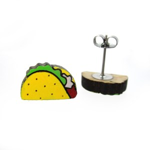 small laser cut taco painted stud earrings