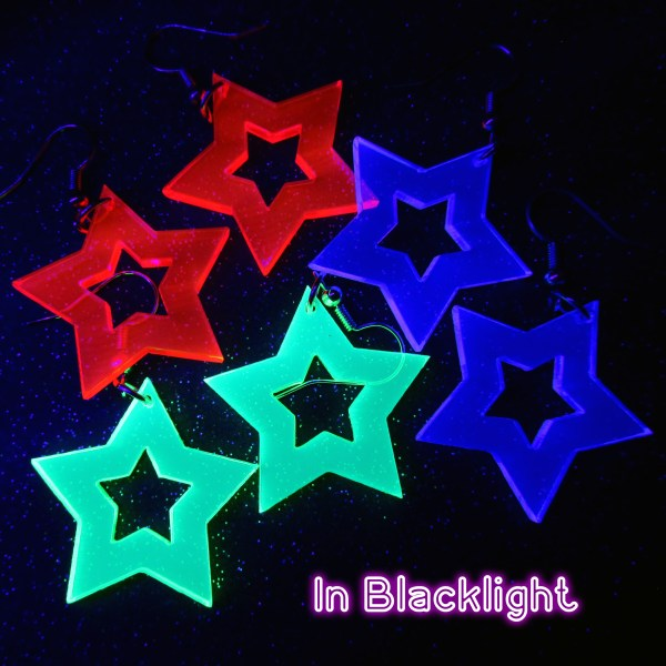black light glowing star earrings for raves and parties