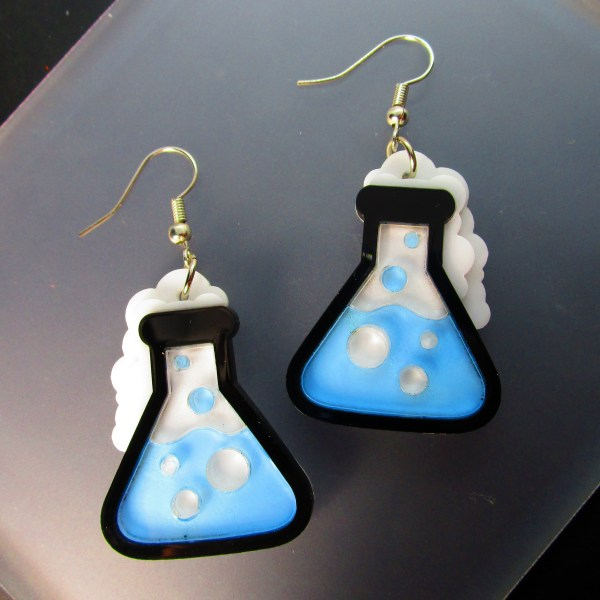 neon blue science beaker experiment dangle earrings
