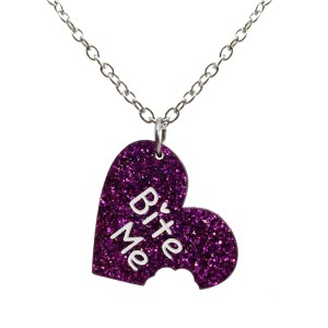 BITE ME Cute word necklace purple heart pendant with bite taken out funny anti valentines sassy necklace jewelry