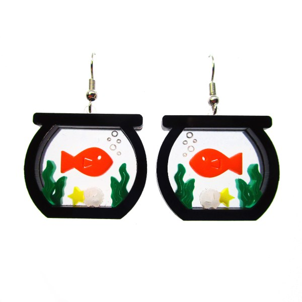 plastic layered laser cut fish bowl statement earrings