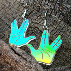 vulcan salute earrings on wood background laser cut hypoallergenic