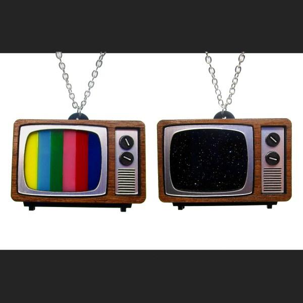 classic CRT TV Tube television retro pendants on silver chain necklaces