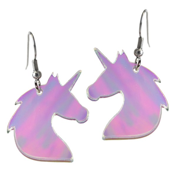 Iridescent Unicorn Bust Dangle Earrings Springtime Summer cute shiny sparkle jewelry