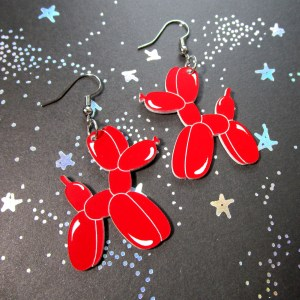 red balloon animal shaped like a dog dangle statement earrings