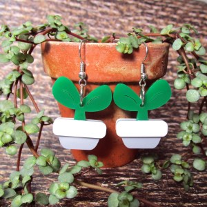 potted plant spring time fun dangle earrings