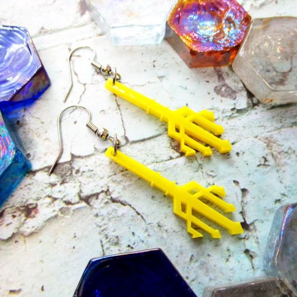 yellow trident little mermaid disney bounding dangle earrings jewelry