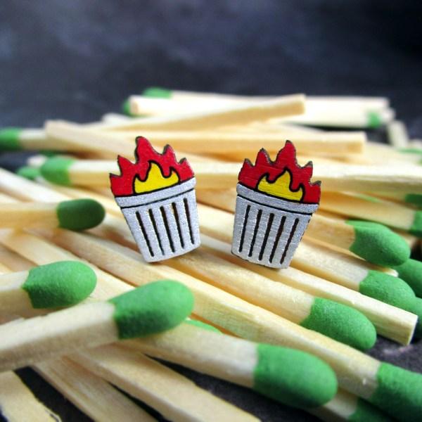 funny little trash fire pendant stud earrings