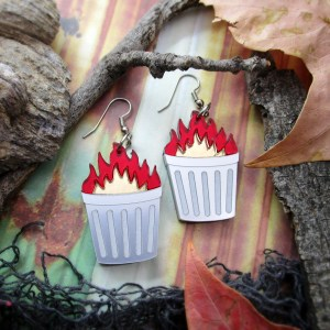 funny trash fire garbage can on fire dangle earrings