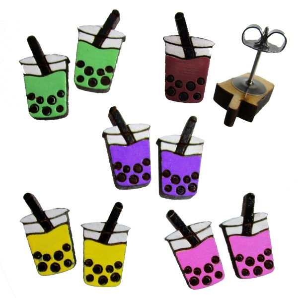 boba pearl tea drink shape stud earrings handpainted to your color choice asian fun tapioca drink jewelry