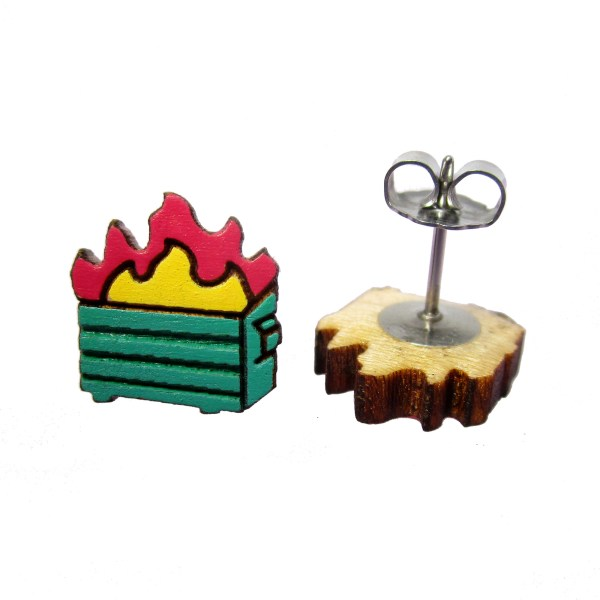 litte cute trash dumpster fire hand painted wood stud earrings post jewelry