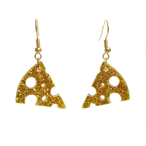 yellow cheese slice wedge dangl statement earrings cute food jewelry (7)