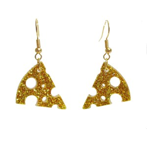 yellow cheese slice wedge dangl statement earrings cute food jewelry (7)