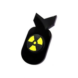 A Bomb nuke nuclear bomb shape acrylic plastic lapel jacket pin brooch